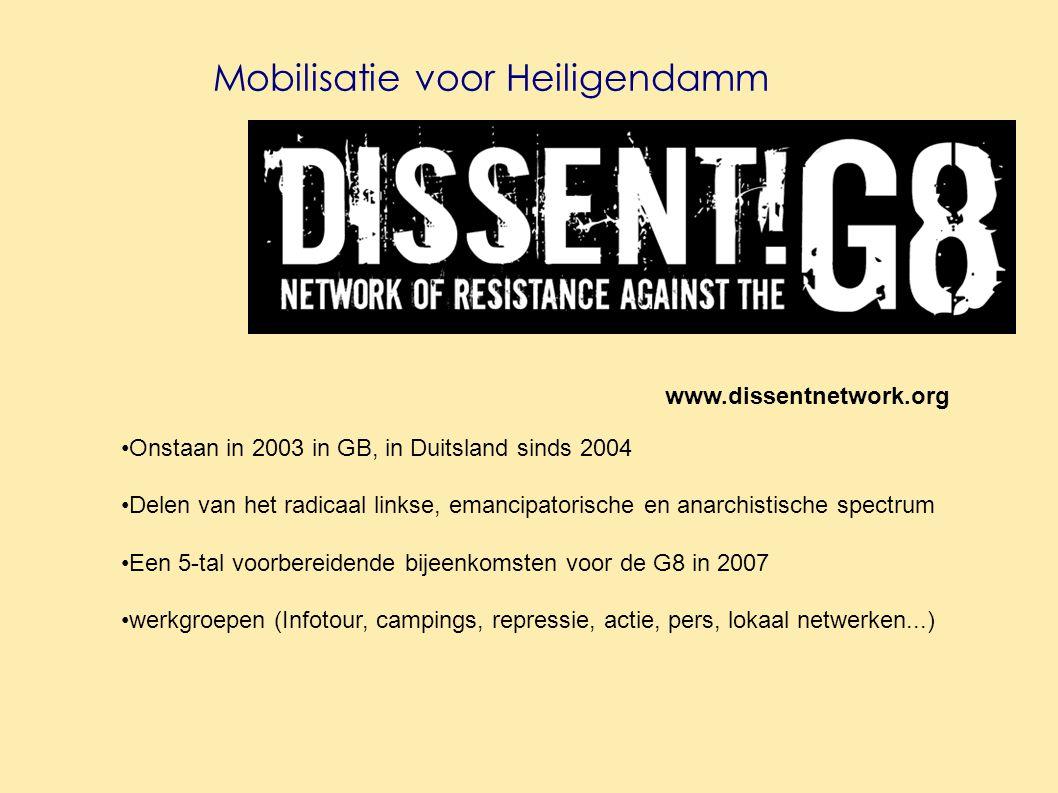Mobilisatie voor Heiligendamm www.dissentnetwork.org Onstaan in 2003 in GB, in Duitsland sinds 2004 Delen van het radicaal linkse, emancipatorische en