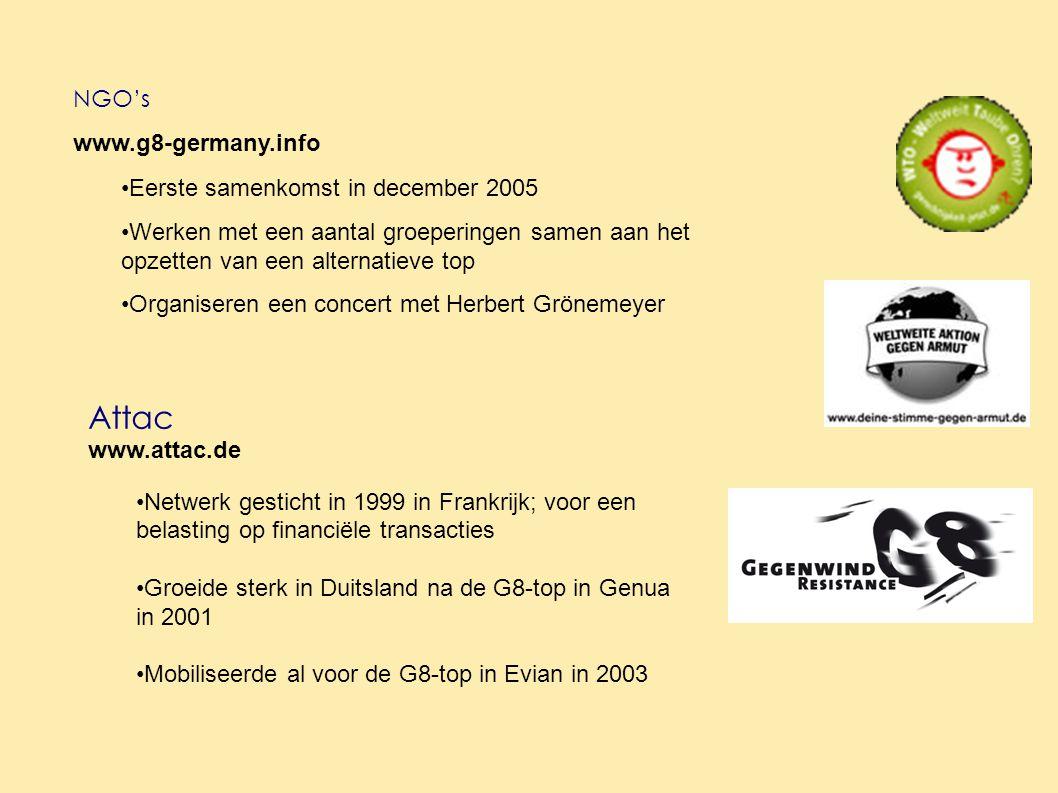 Attac www.attac.de Netwerk gesticht in 1999 in Frankrijk; voor een belasting op financiële transacties Groeide sterk in Duitsland na de G8-top in Genua in 2001 Mobiliseerde al voor de G8-top in Evian in 2003 NGO's www.g8-germany.info Eerste samenkomst in december 2005 Werken met een aantal groeperingen samen aan het opzetten van een alternatieve top Organiseren een concert met Herbert Grönemeyer