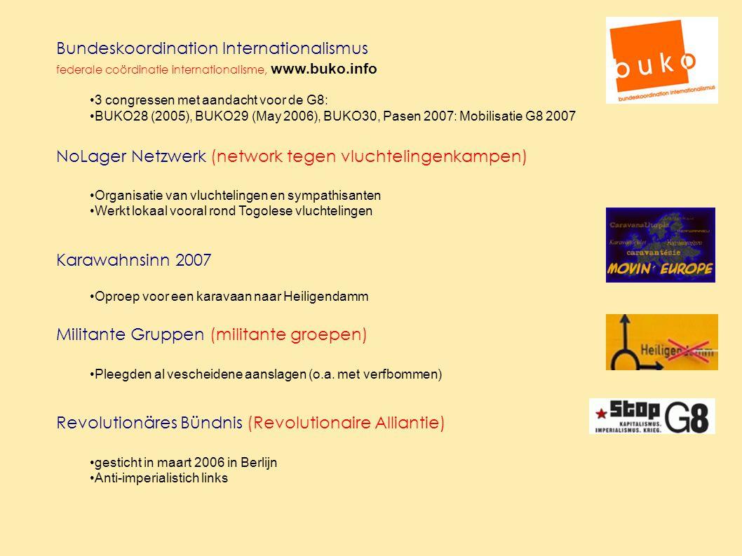 Bundeskoordination Internationalismus federale coördinatie internationalisme, www.buko.info 3 congressen met aandacht voor de G8: BUKO28 (2005), BUKO29 (May 2006), BUKO30, Pasen 2007: Mobilisatie G8 2007 NoLager Netzwerk (network tegen vluchtelingenkampen) Organisatie van vluchtelingen en sympathisanten Werkt lokaal vooral rond Togolese vluchtelingen Karawahnsinn 2007 Oproep voor een karavaan naar Heiligendamm Militante Gruppen (militante groepen) Pleegden al vescheidene aanslagen (o.a.