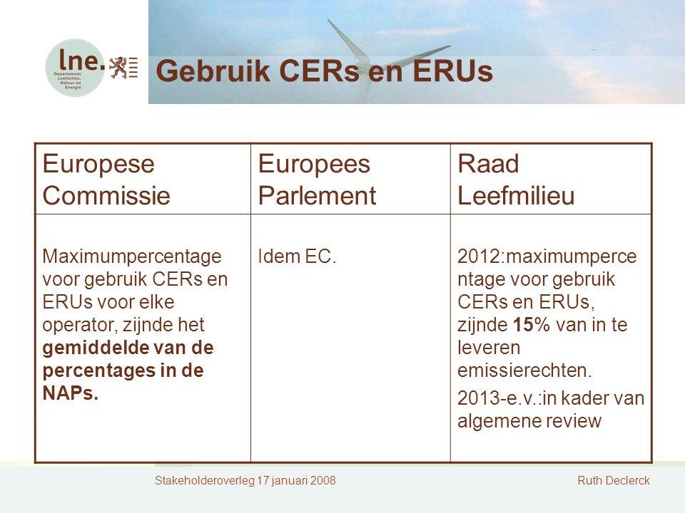 Stakeholderoverleg 17 januari 2008Ruth Declerck Gebruik CERs en ERUs Europese Commissie Europees Parlement Raad Leefmilieu Maximumpercentage voor gebruik CERs en ERUs voor elke operator, zijnde het gemiddelde van de percentages in de NAPs.