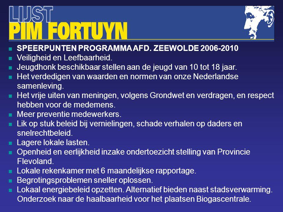 SPEERPUNTEN PROGRAMMA AFD. ZEEWOLDE 2006-2010 Veiligheid en Leefbaarheid.