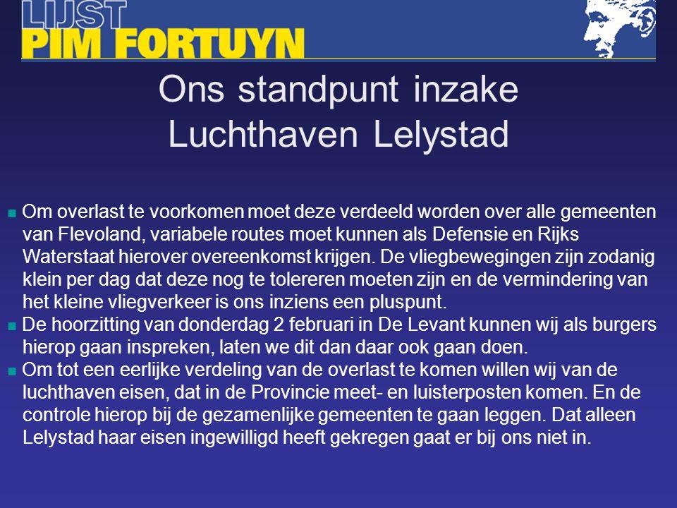 Om overlast te voorkomen moet deze verdeeld worden over alle gemeenten van Flevoland, variabele routes moet kunnen als Defensie en Rijks Waterstaat hierover overeenkomst krijgen.