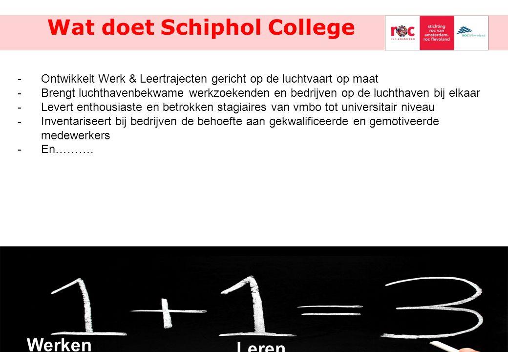 10/8 Wat doet Schiphol College -Ontwikkelt Werk & Leertrajecten gericht op de luchtvaart op maat -Brengt luchthavenbekwame werkzoekenden en bedrijven