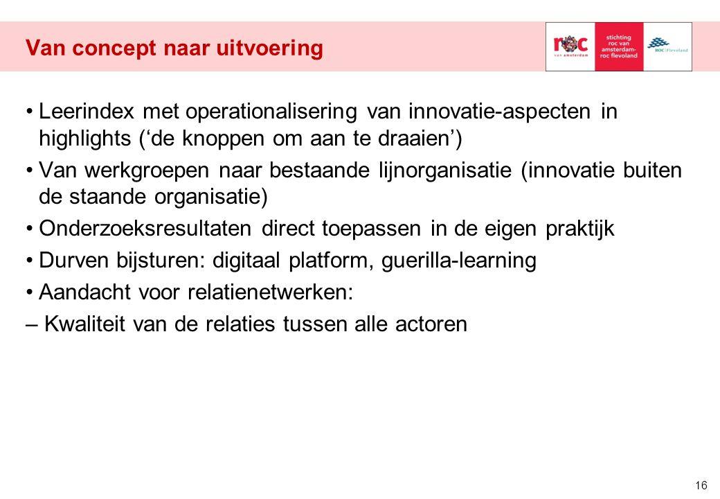 Van concept naar uitvoering Leerindex met operationalisering van innovatie-aspecten in highlights ('de knoppen om aan te draaien') Van werkgroepen naa