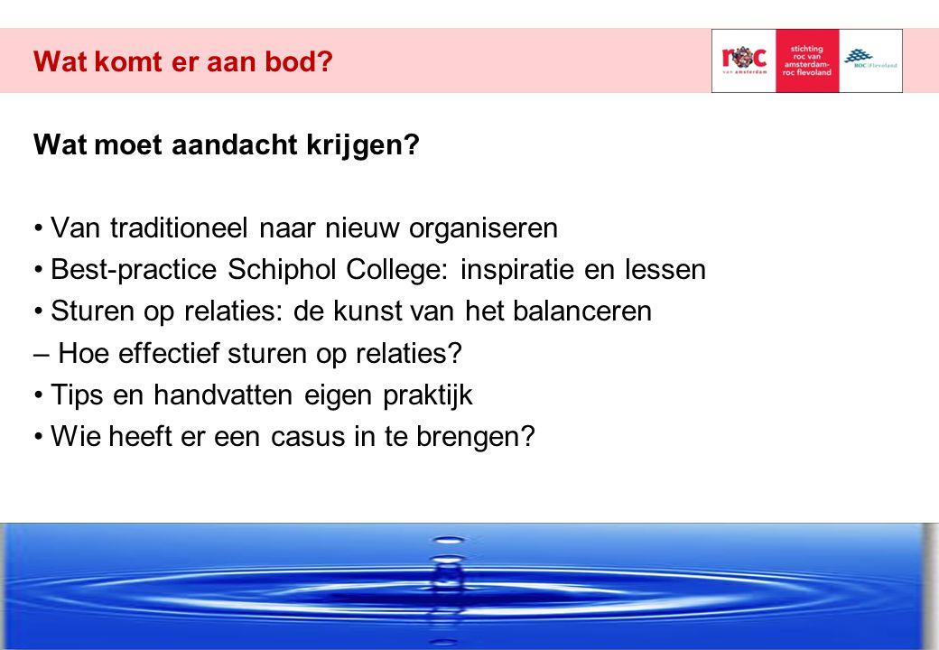 Wat komt er aan bod? Wat moet aandacht krijgen? Van traditioneel naar nieuw organiseren Best-practice Schiphol College: inspiratie en lessen Sturen op