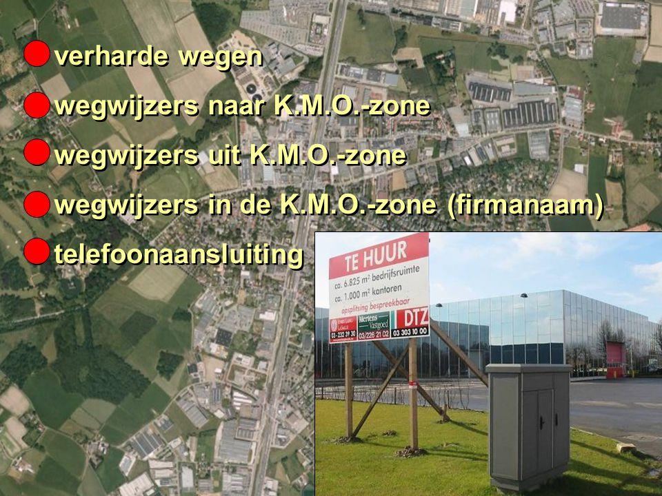 14B.3 K.M.O.-ZONE IN JE EIGEN REGIO 14B.3.1 INFRASTRUCTUUR O verharde wegen O wegwijzers naar K.M.O.-zone O wegwijzers uit K.M.O.-zone O wegwijzers in de K.M.O.-zone (firmanaam) O telefoonaansluiting O verharde wegen O wegwijzers naar K.M.O.-zone O wegwijzers uit K.M.O.-zone O wegwijzers in de K.M.O.-zone (firmanaam) O telefoonaansluiting