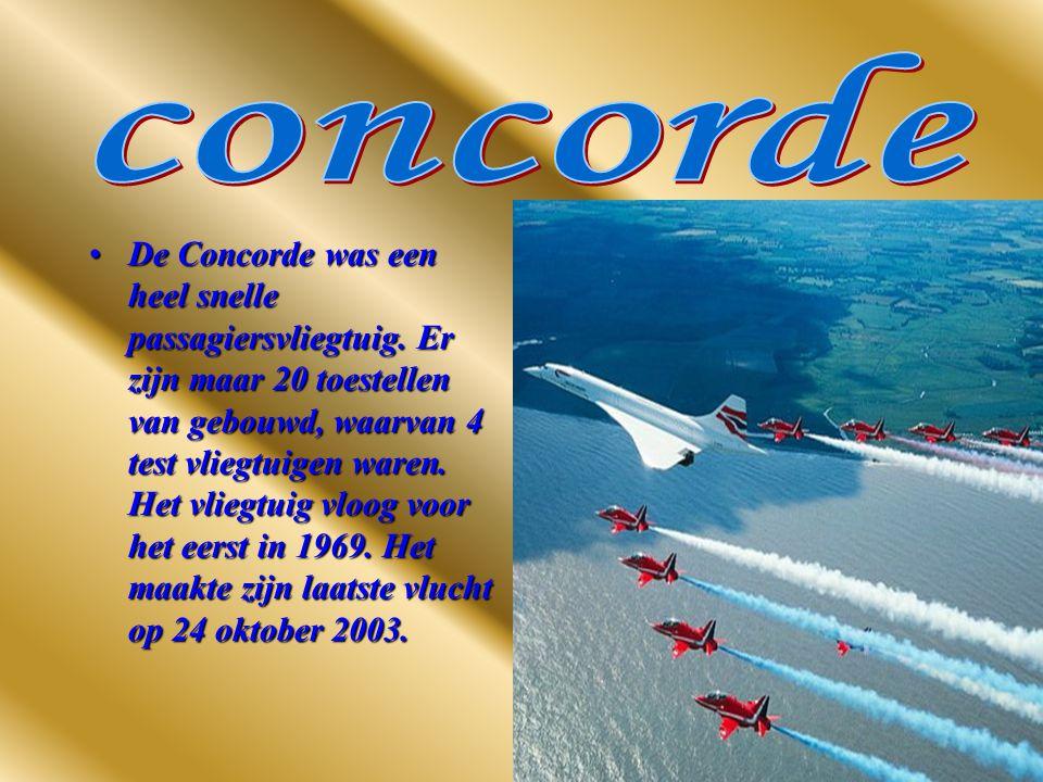 De Concorde was een heel snelle passagiersvliegtuig.