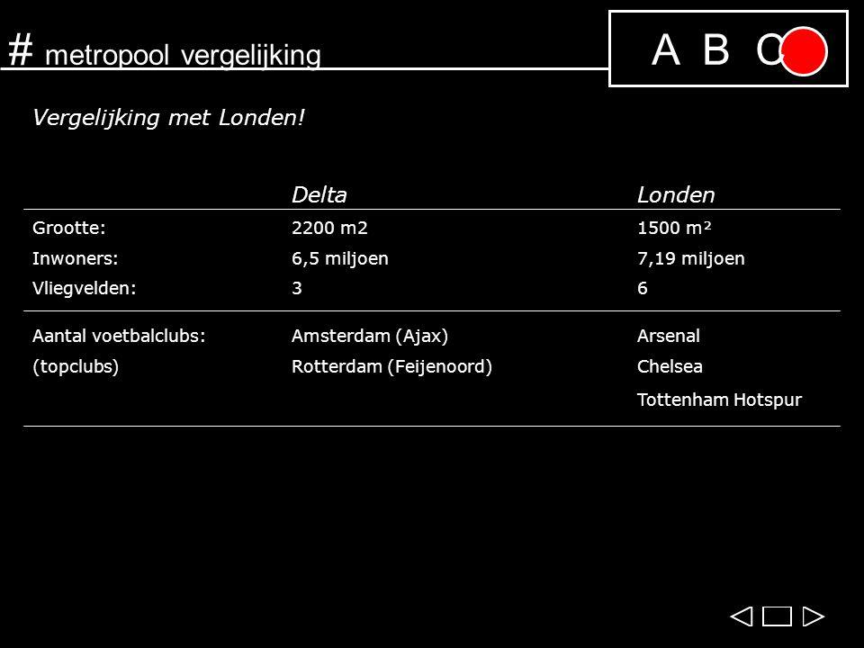 A B C# metropool vergelijking Vergelijking met Londen! DeltaLonden Grootte:2200 m21500 m² Inwoners:6,5 miljoen7,19 miljoen Vliegvelden:36 Aantal voetb