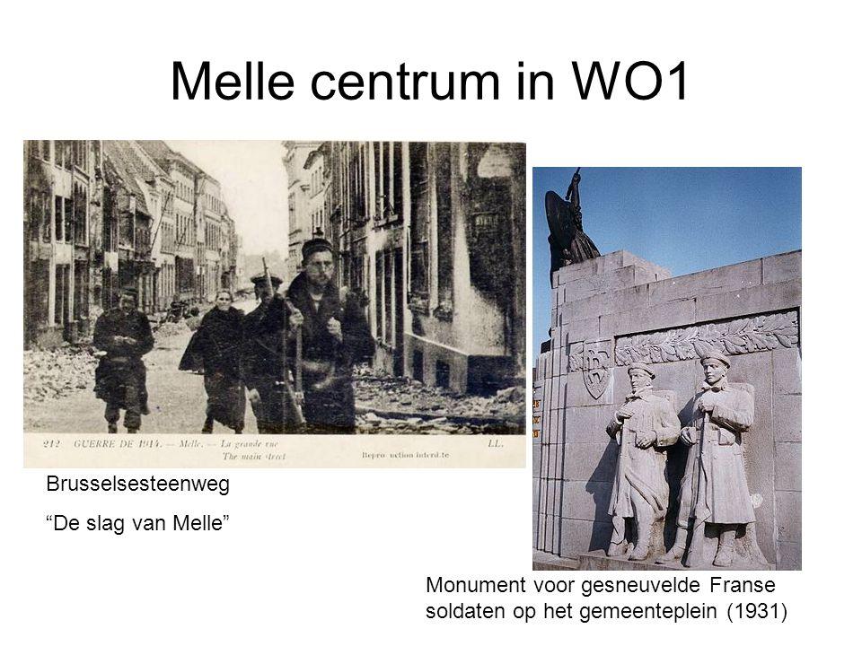 """Melle centrum in WO1 Brusselsesteenweg """"De slag van Melle"""" Monument voor gesneuvelde Franse soldaten op het gemeenteplein (1931)"""