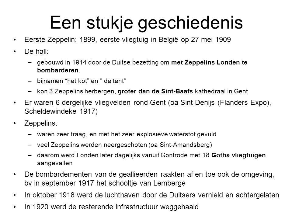 Een stukje geschiedenis Eerste Zeppelin: 1899, eerste vliegtuig in België op 27 mei 1909 De hall: –gebouwd in 1914 door de Duitse bezetting om met Zep