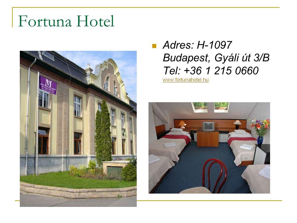 Fortuna Hotel Adres: H-1097 Budapest, Gyáli út 3/B Tel: +36 1 215 0660 www.fortunahotel.hu www.fortunahotel.hu