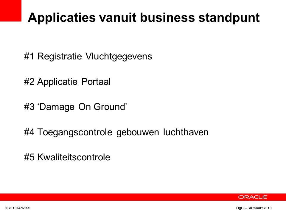 OgH – 30 maart 2010 Applicaties vanuit business standpunt #1 Registratie Vluchtgegevens #2 Applicatie Portaal #3 'Damage On Ground' #4 Toegangscontrol
