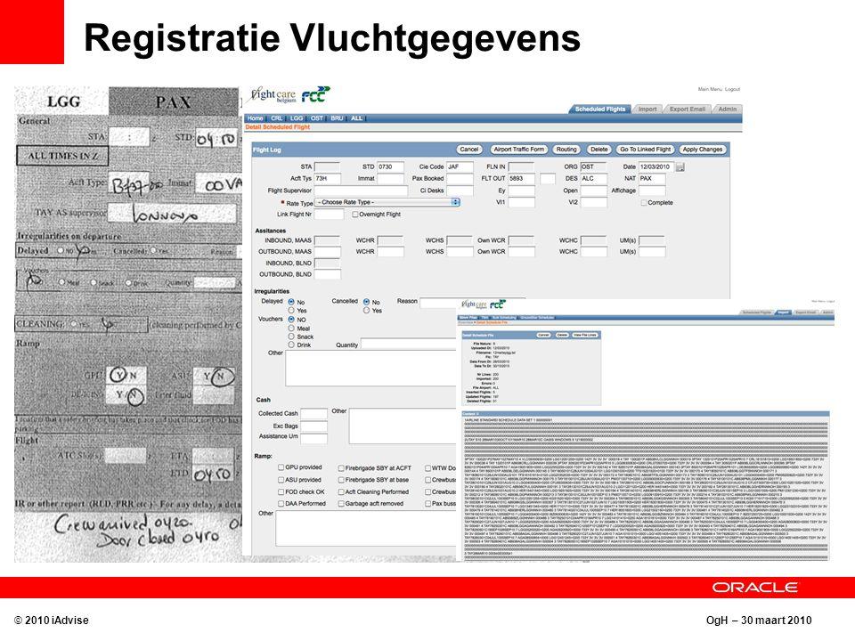 OgH – 30 maart 2010 Registratie Vluchtgegevens © 2010 iAdvise Opladen telex gegevens