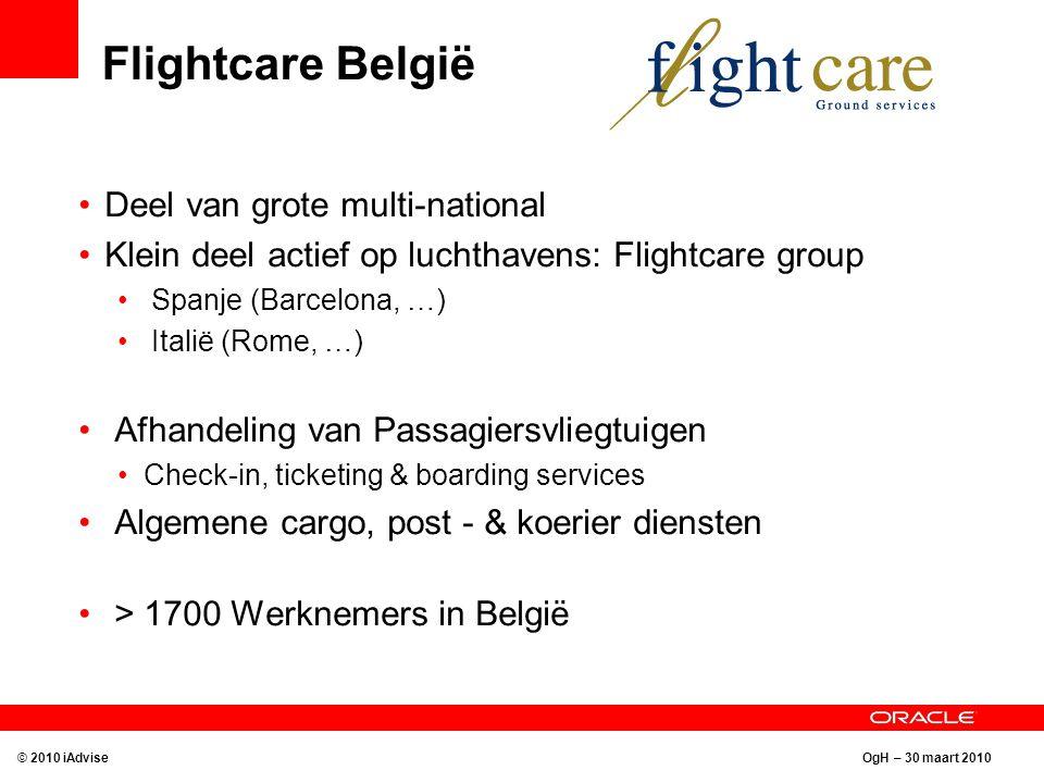OgH – 30 maart 2010 Flightcare België Deel van grote multi-national Klein deel actief op luchthavens: Flightcare group Spanje (Barcelona, …) Italië (R