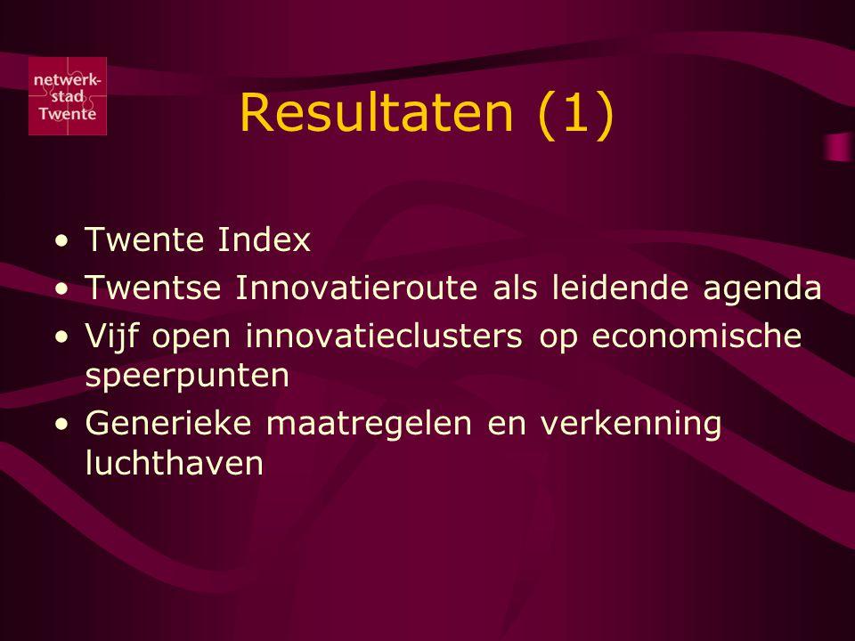 Resultaten (1) Twente Index Twentse Innovatieroute als leidende agenda Vijf open innovatieclusters op economische speerpunten Generieke maatregelen en verkenning luchthaven