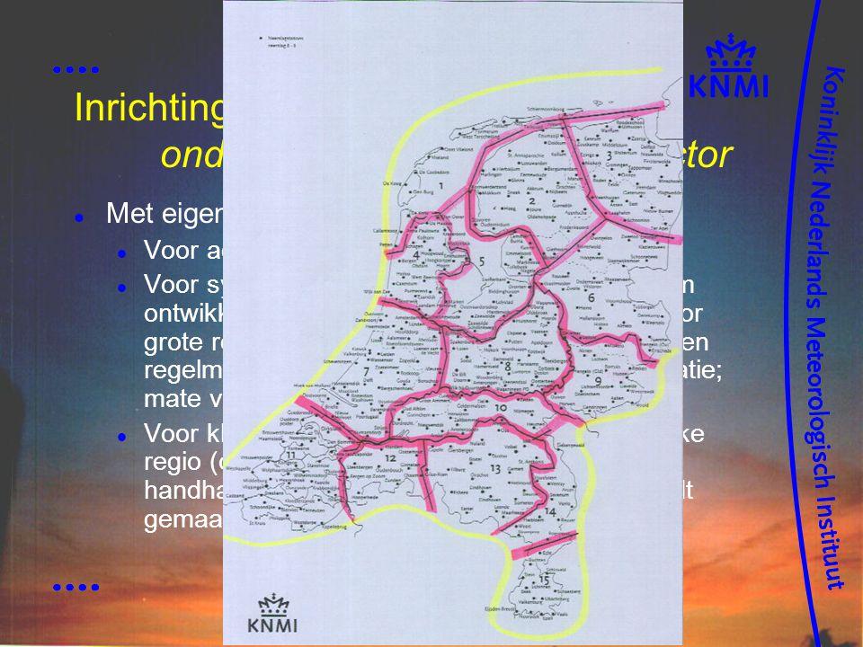 Inrichting netwerk: onderscheid per gebruikerssector Met eigen criteria omtrent stationslocaties Voor aeronaut.: ter plaatse luchthaven Voor synopt.: gelijkmatig verdeeld, geschikt om ontwikkelingen te volgen, en representatief voor grote regio, o.a.