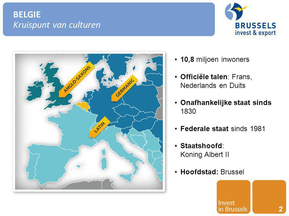 Invest in Brussels 3 BELGIE Een federale staat met 3 Gewesten Regionale bevoegdheden : Economische beleid Buitenlandse Handel Regionale ontwikkeling Urbanisme Transport & Mobiliteit Wetenschappelijk Onderzoek Externe Betrekkingen Werkgelegenheid