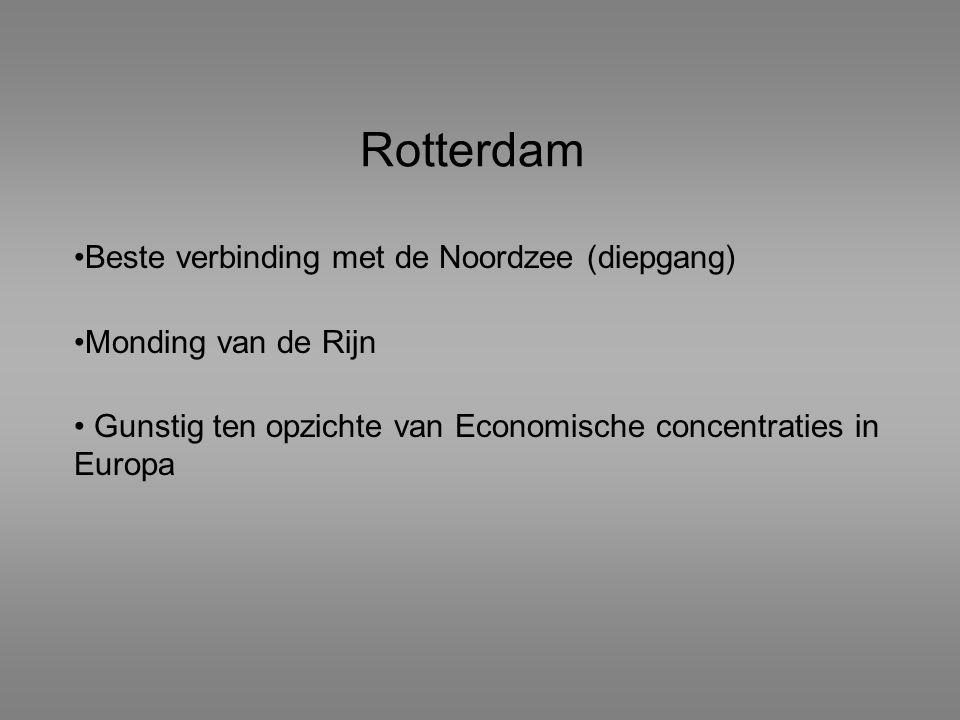 Rotterdam Beste verbinding met de Noordzee (diepgang) Monding van de Rijn Gunstig ten opzichte van Economische concentraties in Europa