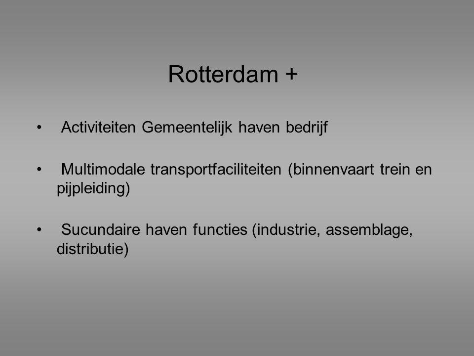 Rotterdam + Activiteiten Gemeentelijk haven bedrijf Multimodale transportfaciliteiten (binnenvaart trein en pijpleiding) Sucundaire haven functies (in