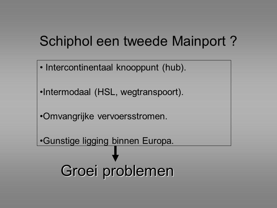 Schiphol een tweede Mainport ? Intercontinentaal knooppunt (hub). Intermodaal (HSL, wegtranspoort). Omvangrijke vervoersstromen. Gunstige ligging binn