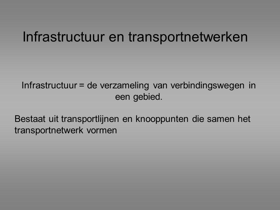 Infrastructuur en transportnetwerken Infrastructuur = de verzameling van verbindingswegen in een gebied. Bestaat uit transportlijnen en knooppunten di