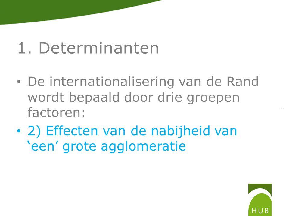 1. Determinanten De internationalisering van de Rand wordt bepaald door drie groepen factoren: 2) Effecten van de nabijheid van 'een' grote agglomerat