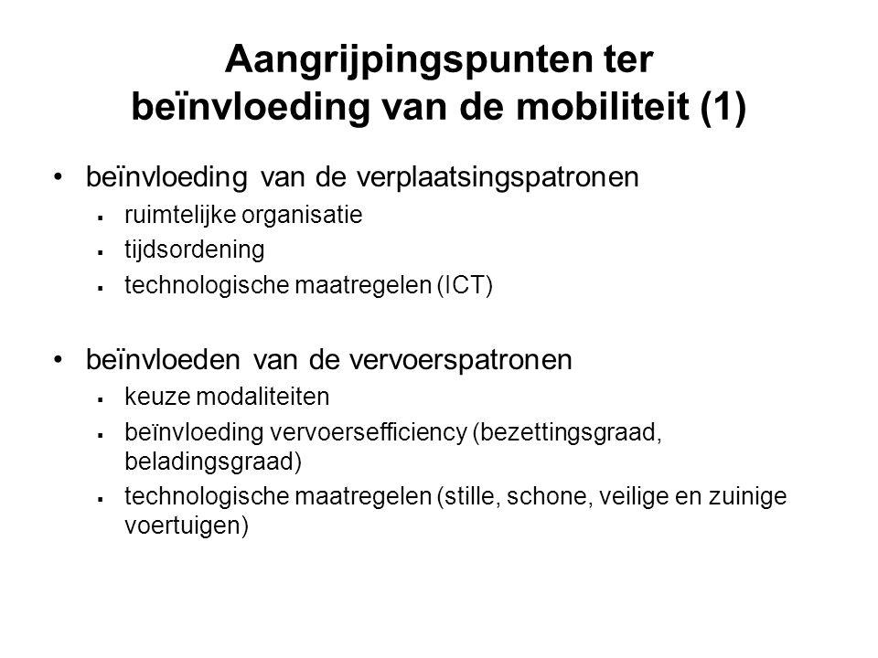 Aangrijpingspunten ter beïnvloeding van de mobiliteit (1) beïnvloeding van de verplaatsingspatronen  ruimtelijke organisatie  tijdsordening  techno