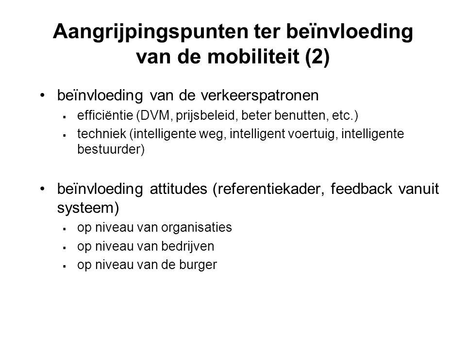 Aangrijpingspunten ter beïnvloeding van de mobiliteit (2) beïnvloeding van de verkeerspatronen  efficiëntie (DVM, prijsbeleid, beter benutten, etc.)  techniek (intelligente weg, intelligent voertuig, intelligente bestuurder) beïnvloeding attitudes (referentiekader, feedback vanuit systeem)  op niveau van organisaties  op niveau van bedrijven  op niveau van de burger