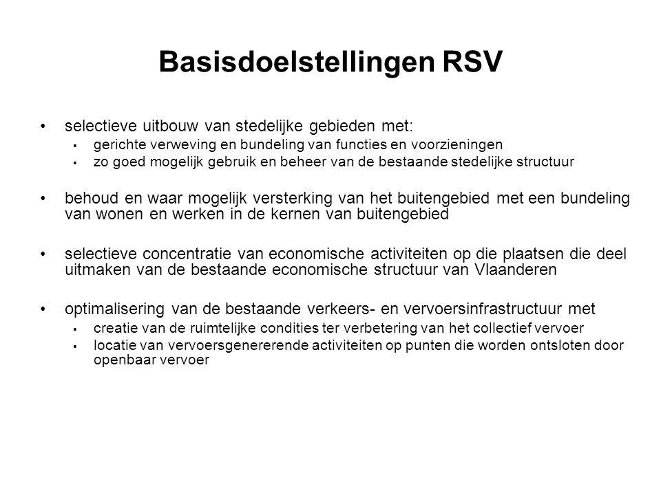 Basisdoelstellingen RSV selectieve uitbouw van stedelijke gebieden met:  gerichte verweving en bundeling van functies en voorzieningen  zo goed mogelijk gebruik en beheer van de bestaande stedelijke structuur behoud en waar mogelijk versterking van het buitengebied met een bundeling van wonen en werken in de kernen van buitengebied selectieve concentratie van economische activiteiten op die plaatsen die deel uitmaken van de bestaande economische structuur van Vlaanderen optimalisering van de bestaande verkeers- en vervoersinfrastructuur met  creatie van de ruimtelijke condities ter verbetering van het collectief vervoer  locatie van vervoersgenererende activiteiten op punten die worden ontsloten door openbaar vervoer
