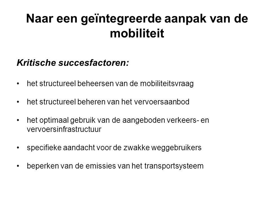 Naar een geïntegreerde aanpak van de mobiliteit Kritische succesfactoren: het structureel beheersen van de mobiliteitsvraag het structureel beheren van het vervoersaanbod het optimaal gebruik van de aangeboden verkeers- en vervoersinfrastructuur specifieke aandacht voor de zwakke weggebruikers beperken van de emissies van het transportsysteem