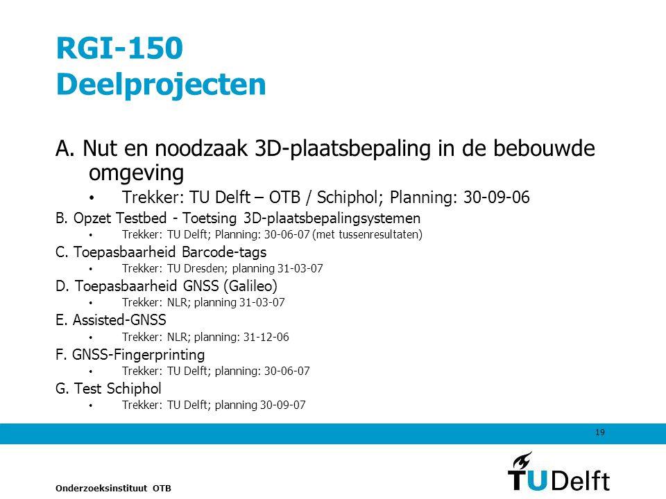 Onderzoeksinstituut OTB 19 RGI-150 Deelprojecten A.