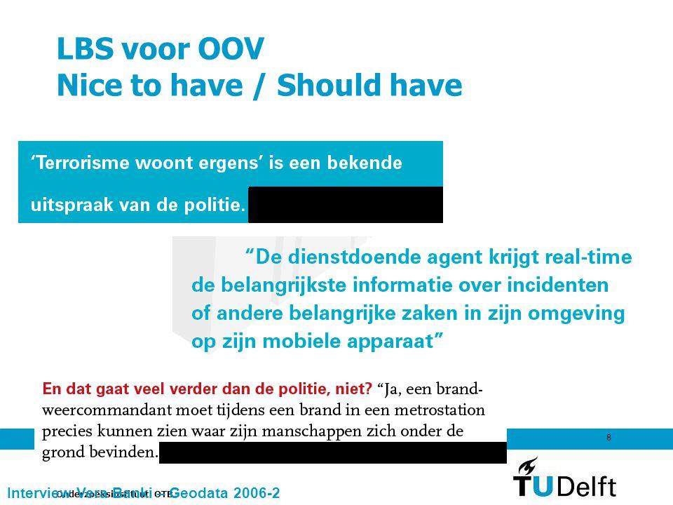 Onderzoeksinstituut OTB 8 LBS voor OOV Nice to have / Should have Interview Vera Banki – Geodata 2006-2