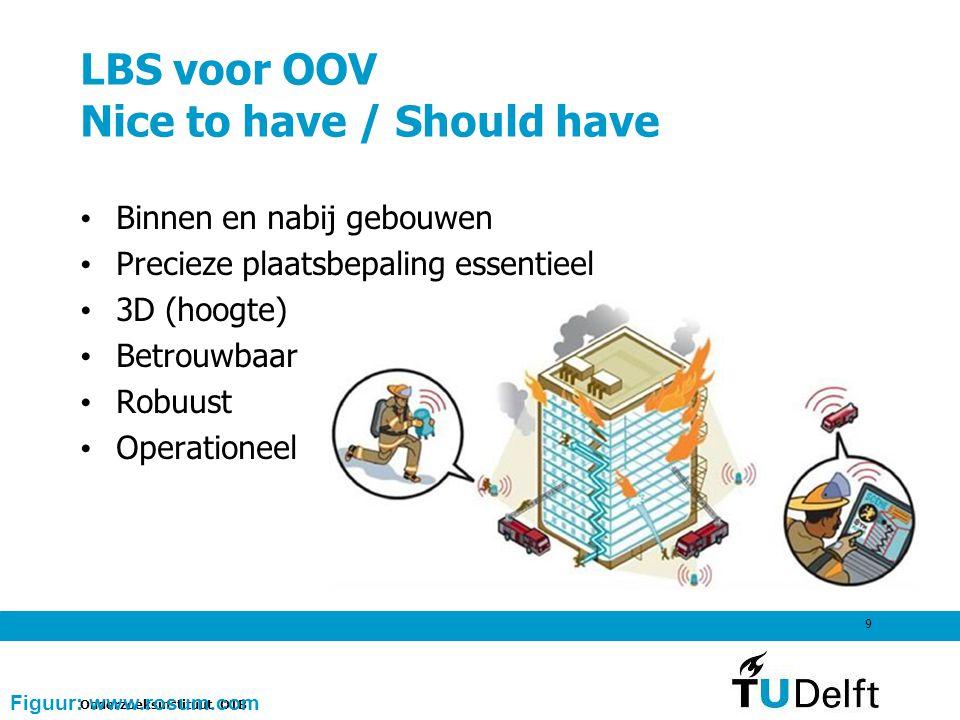 Onderzoeksinstituut OTB 9 LBS voor OOV Nice to have / Should have Binnen en nabij gebouwen Precieze plaatsbepaling essentieel 3D (hoogte) Betrouwbaar Robuust Operationeel Figuur: www.rosum.com