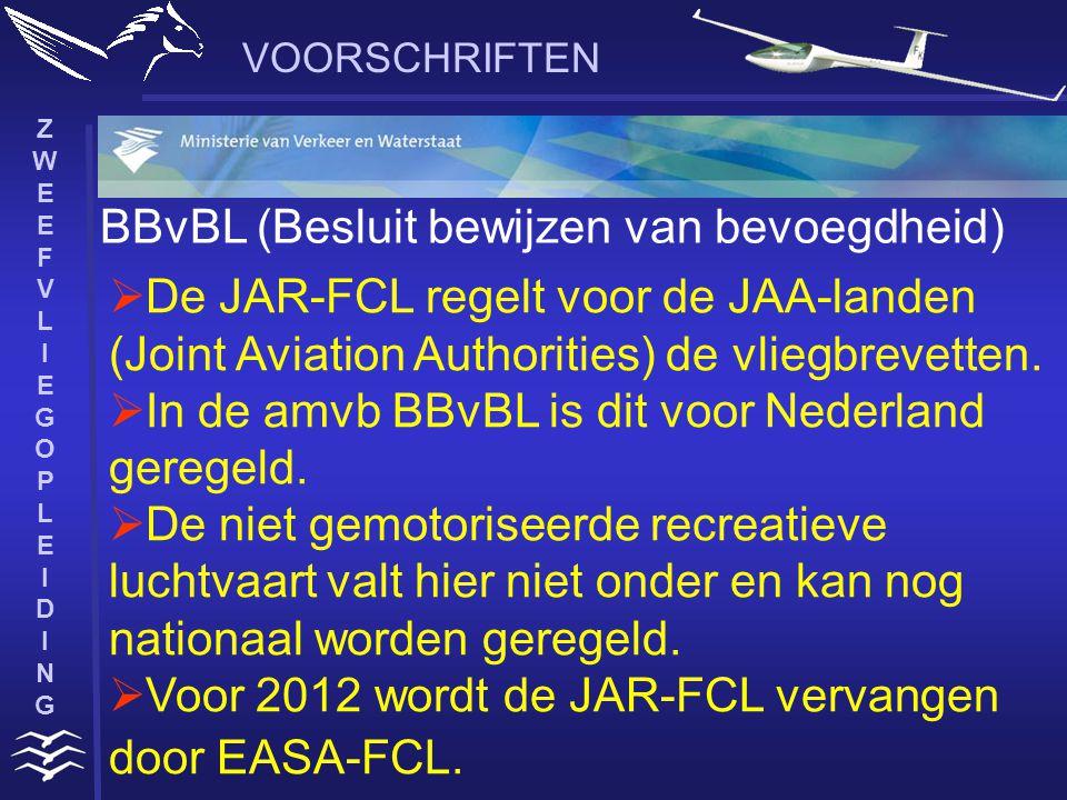 ZWEEFVLIEGOPLEIDINGZWEEFVLIEGOPLEIDING VOORSCHRIFTEN BBvBL (Besluit bewijzen van bevoegdheid)  De JAR-FCL regelt voor de JAA-landen (Joint Aviation Authorities) de vliegbrevetten.