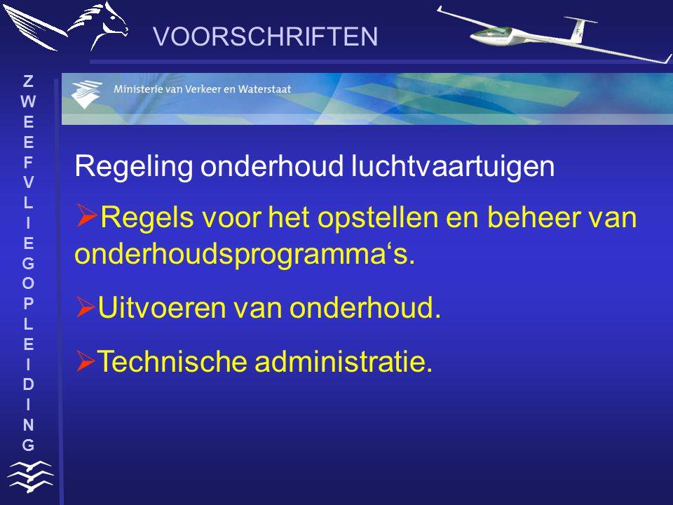 ZWEEFVLIEGOPLEIDINGZWEEFVLIEGOPLEIDING VOORSCHRIFTEN  Regels voor het opstellen en beheer van onderhoudsprogramma's.