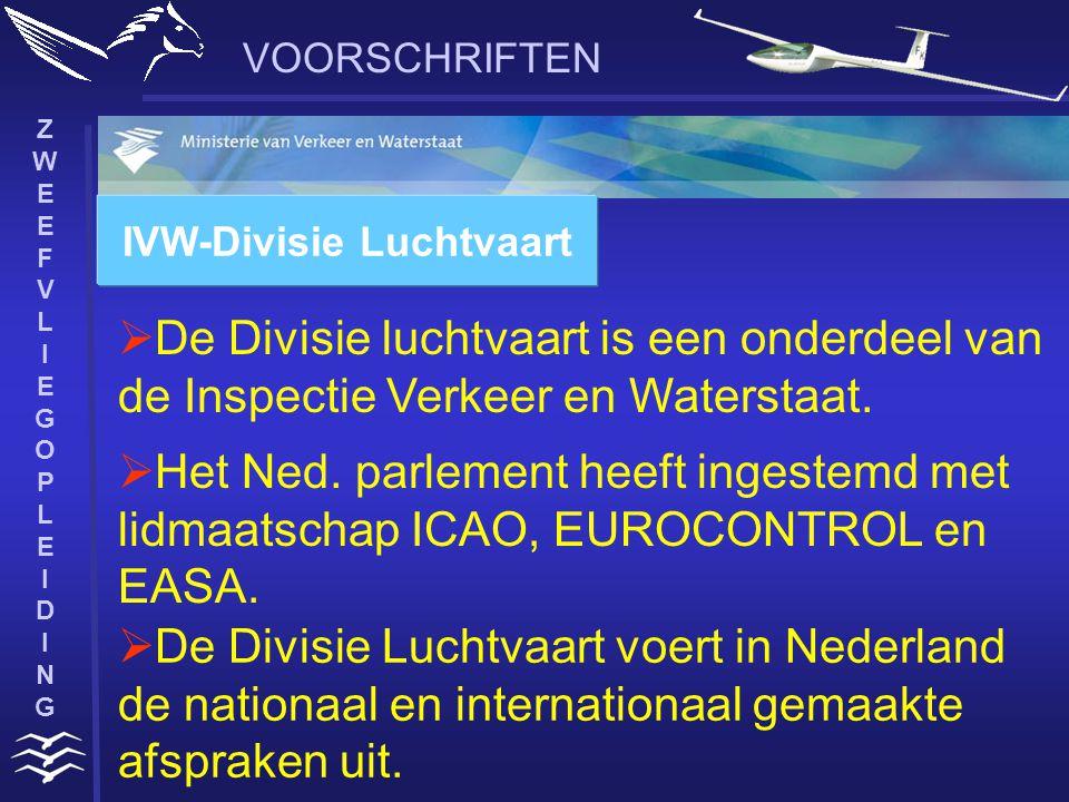 ZWEEFVLIEGOPLEIDINGZWEEFVLIEGOPLEIDING VOORSCHRIFTEN  De Divisie luchtvaart is een onderdeel van de Inspectie Verkeer en Waterstaat.