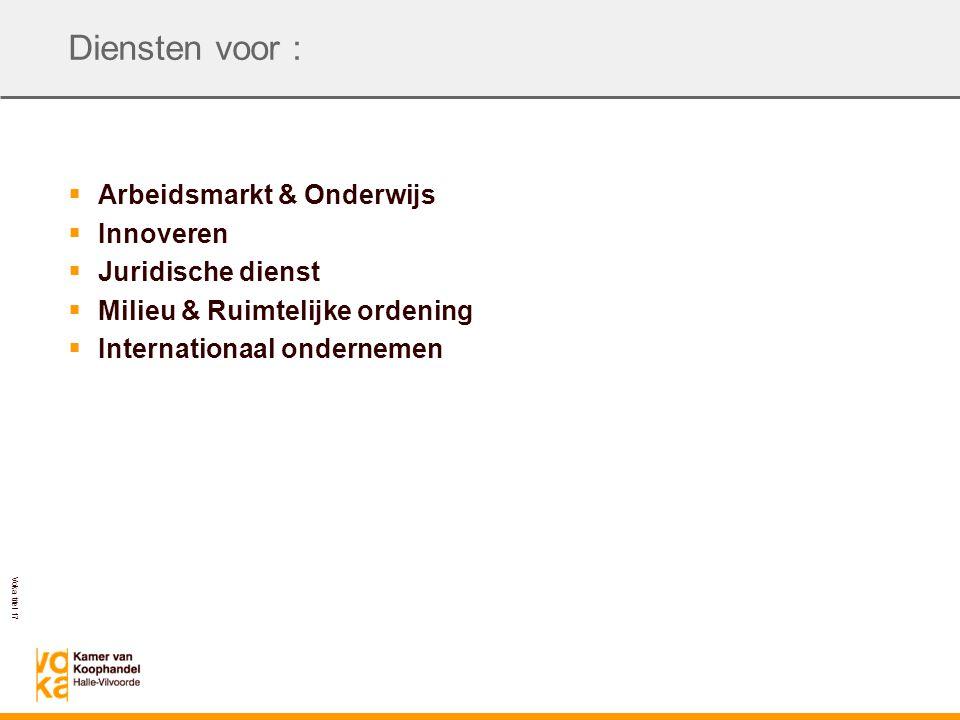 Voka titel 17 Diensten voor :  Arbeidsmarkt & Onderwijs  Innoveren  Juridische dienst  Milieu & Ruimtelijke ordening  Internationaal ondernemen