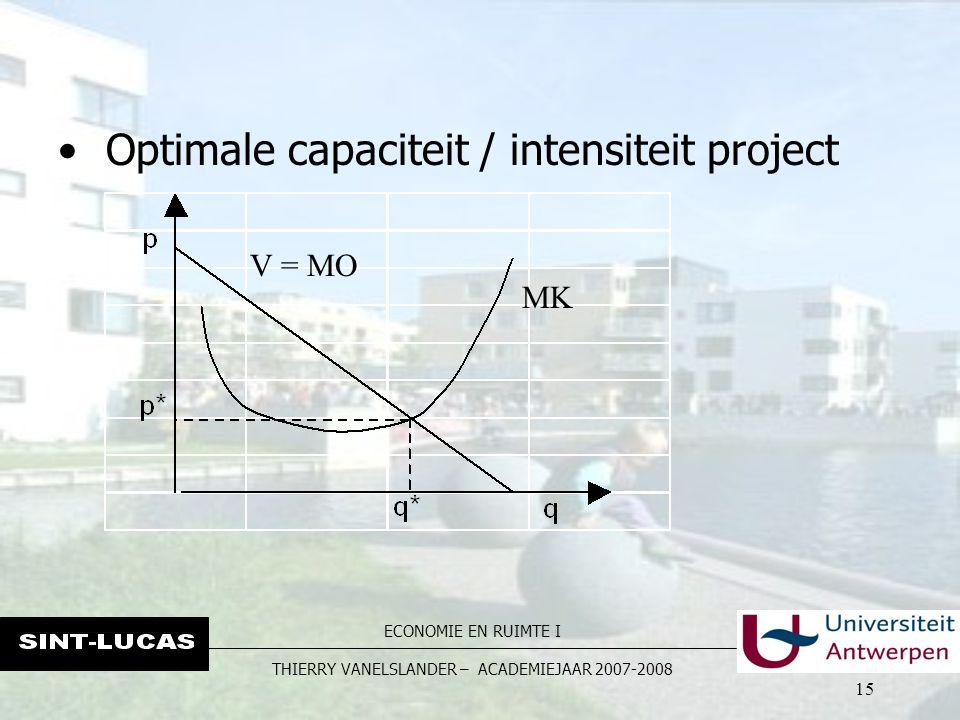 ECONOMIE EN RUIMTE I THIERRY VANELSLANDER – ACADEMIEJAAR 2007-2008 15 V = MO MK Optimale capaciteit / intensiteit project