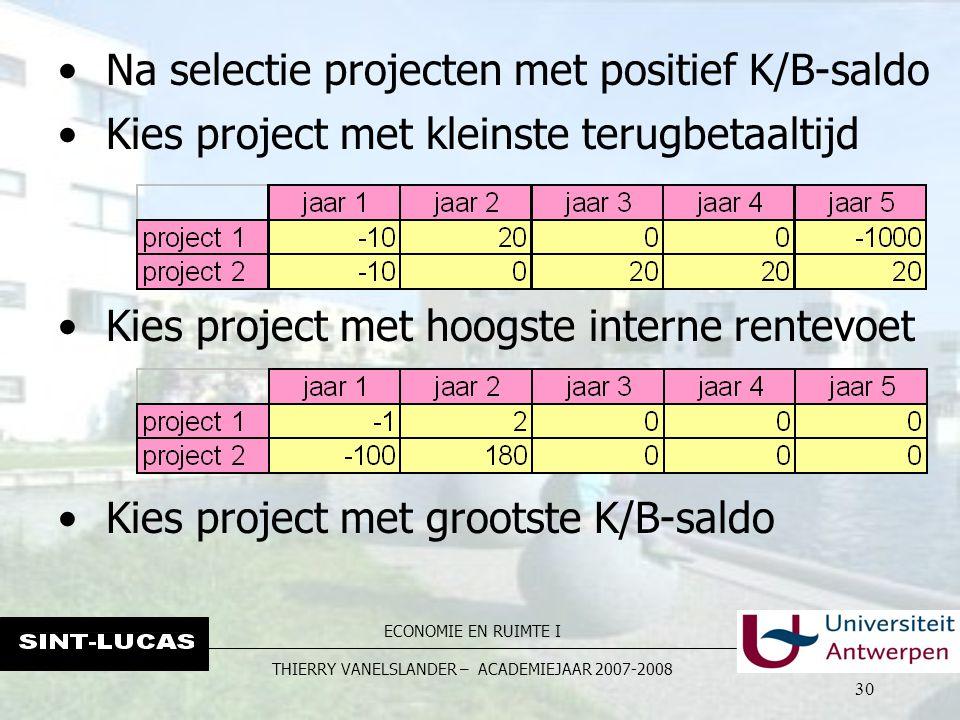 ECONOMIE EN RUIMTE I THIERRY VANELSLANDER – ACADEMIEJAAR 2007-2008 30 Na selectie projecten met positief K/B-saldo Kies project met kleinste terugbeta