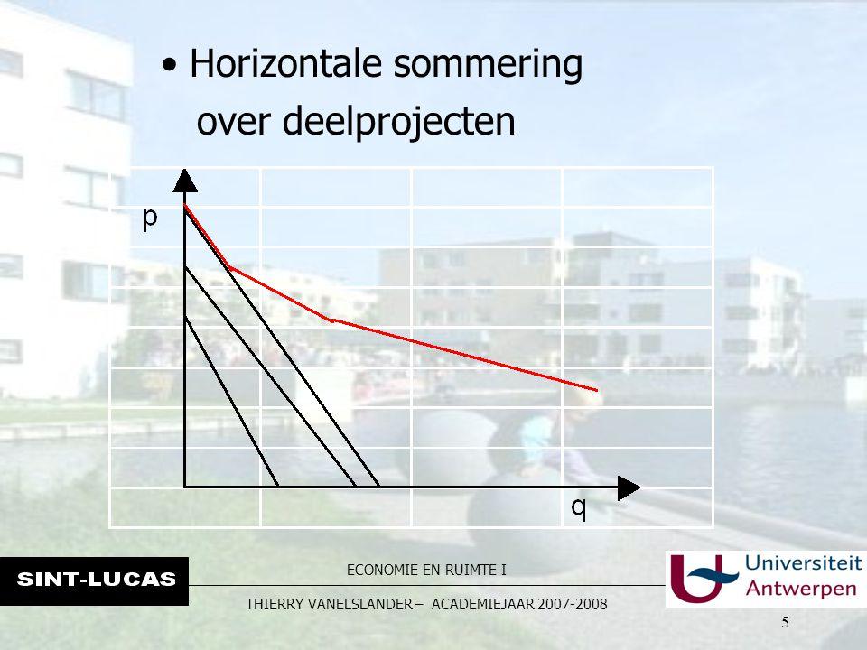ECONOMIE EN RUIMTE I THIERRY VANELSLANDER – ACADEMIEJAAR 2007-2008 5 Horizontale sommering over deelprojecten