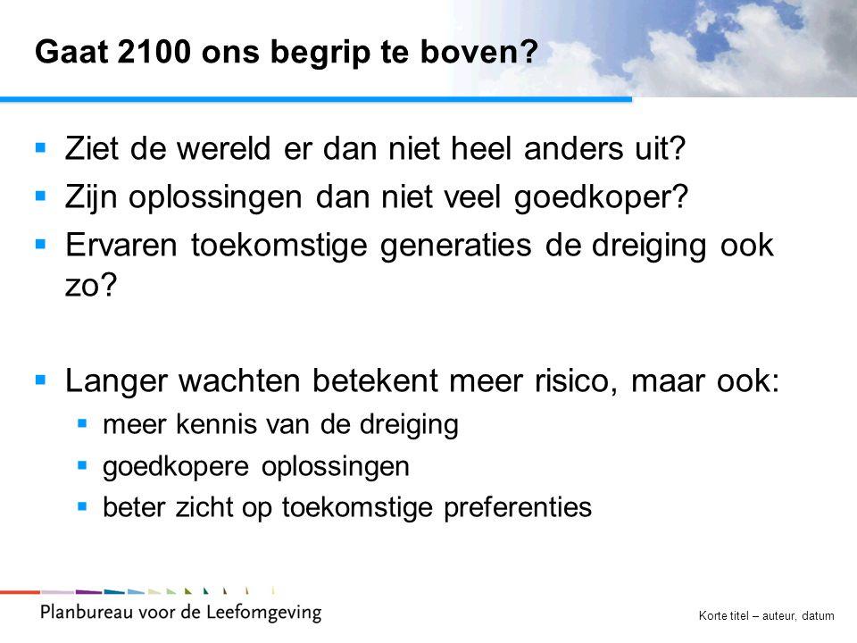 Korte titel – auteur, datum Gaat 2100 ons begrip te boven?  Ziet de wereld er dan niet heel anders uit?  Zijn oplossingen dan niet veel goedkoper? 