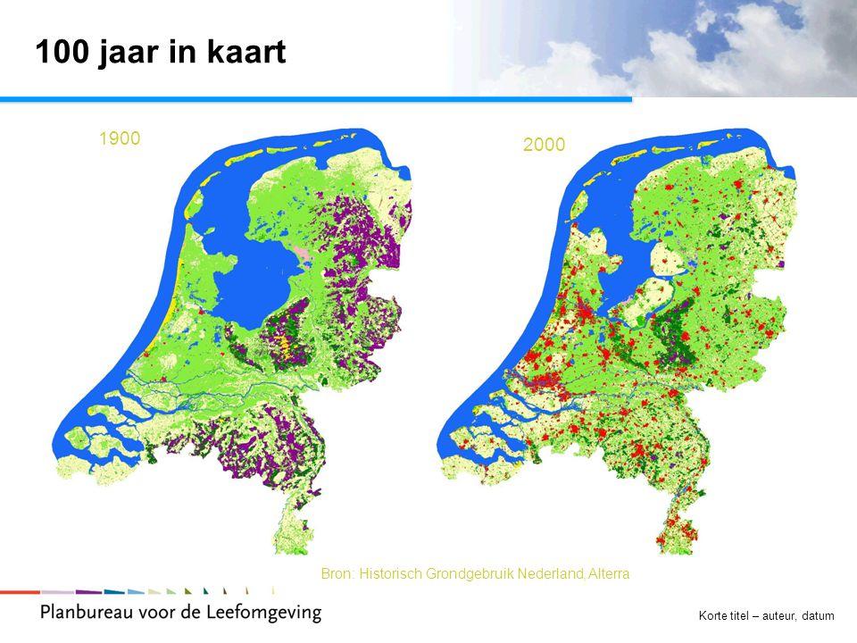 Korte titel – auteur, datum 100 jaar in kaart  Tekst 1900 2000 Bron: Historisch Grondgebruik Nederland, Alterra