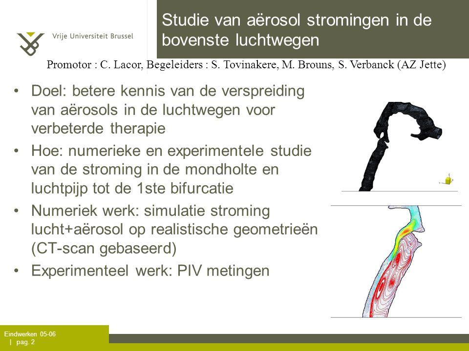 Eindwerken 05-06 | pag. 2 Studie van aërosol stromingen in de bovenste luchtwegen Promotor : C. Lacor, Begeleiders : S. Tovinakere, M. Brouns, S. Verb
