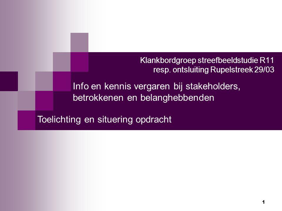 1 Klankbordgroep streefbeeldstudie R11 resp. ontsluiting Rupelstreek 29/03 Info en kennis vergaren bij stakeholders, betrokkenen en belanghebbenden To