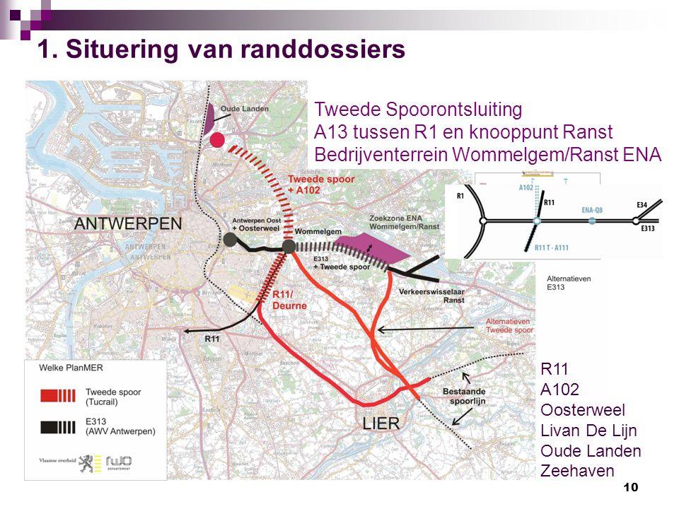 10 R11 A102 Oosterweel Livan De Lijn Oude Landen Zeehaven Tweede Spoorontsluiting A13 tussen R1 en knooppunt Ranst Bedrijventerrein Wommelgem/Ranst EN