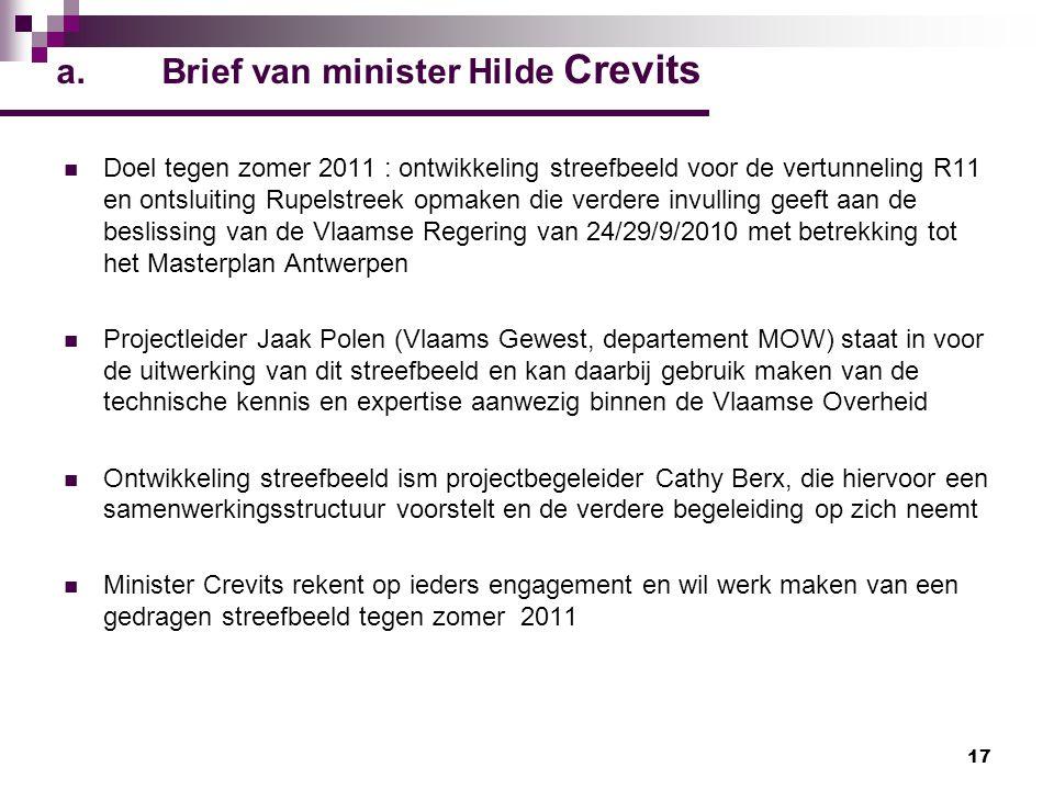 17 a.Brief van minister Hilde Crevits Doel tegen zomer 2011 : ontwikkeling streefbeeld voor de vertunneling R11 en ontsluiting Rupelstreek opmaken die