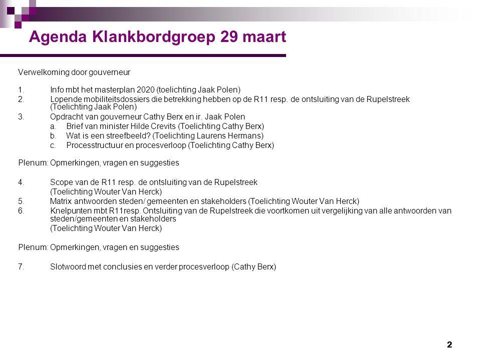 2 Agenda Klankbordgroep 29 maart Verwelkoming door gouverneur 1.Info mbt het masterplan 2020 (toelichting Jaak Polen) 2.Lopende mobiliteitsdossiers di
