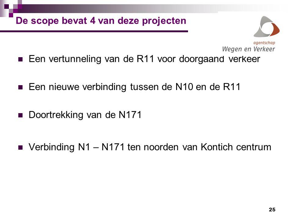 25 De scope bevat 4 van deze projecten Een vertunneling van de R11 voor doorgaand verkeer Een nieuwe verbinding tussen de N10 en de R11 Doortrekking v