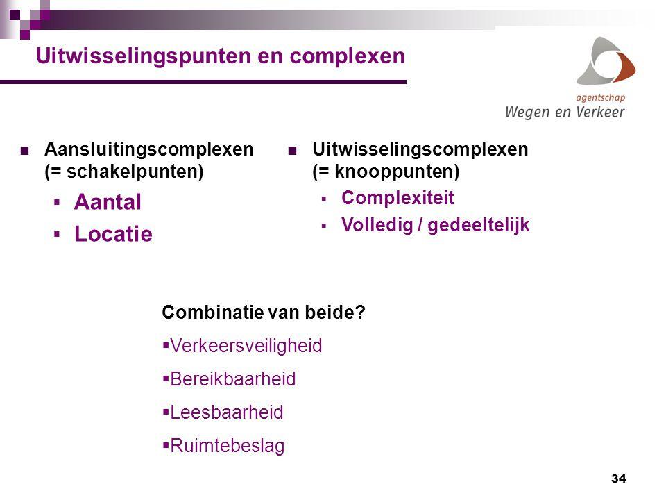 34 Uitwisselingspunten en complexen Aansluitingscomplexen (= schakelpunten)  Aantal  Locatie Uitwisselingscomplexen (= knooppunten)  Complexiteit 