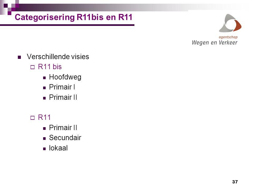 37 Categorisering R11bis en R11 Verschillende visies  R11 bis Hoofdweg Primair I Primair II  R11 Primair II Secundair lokaal